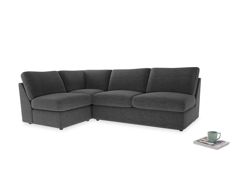Large left hand Chatnap modular corner storage sofa in Shadow Grey wool