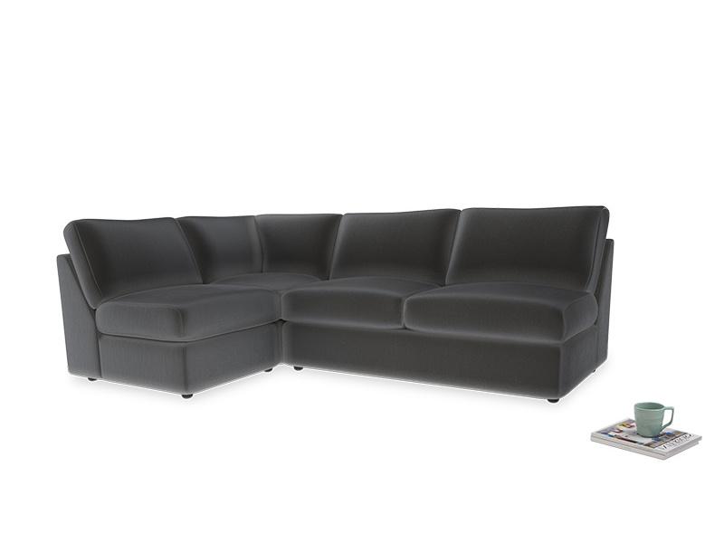 Large left hand Chatnap modular corner storage sofa in Steel clever velvet