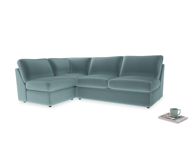 Large left hand Chatnap modular corner storage sofa in Lagoon clever velvet