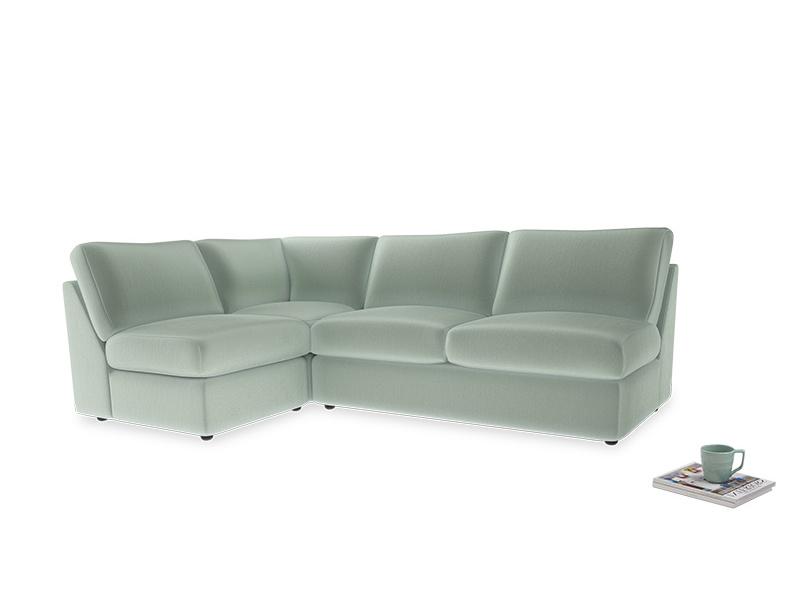 Large left hand Chatnap modular corner storage sofa in Mint clever velvet