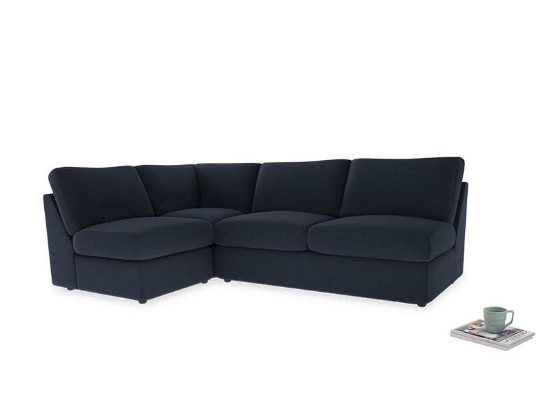 Large left hand Chatnap modular corner storage sofa in Indigo vintage linen