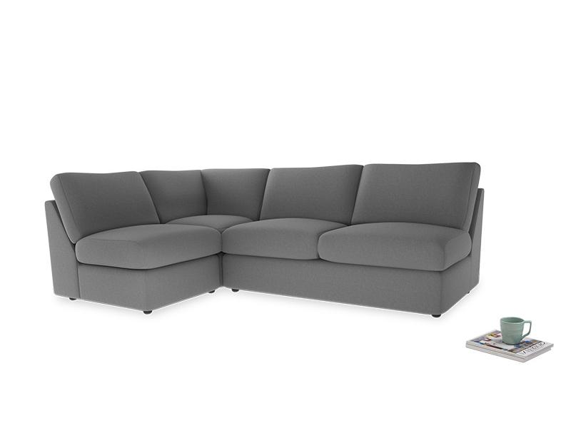 Large left hand Chatnap modular corner storage sofa in Gun Metal brushed cotton