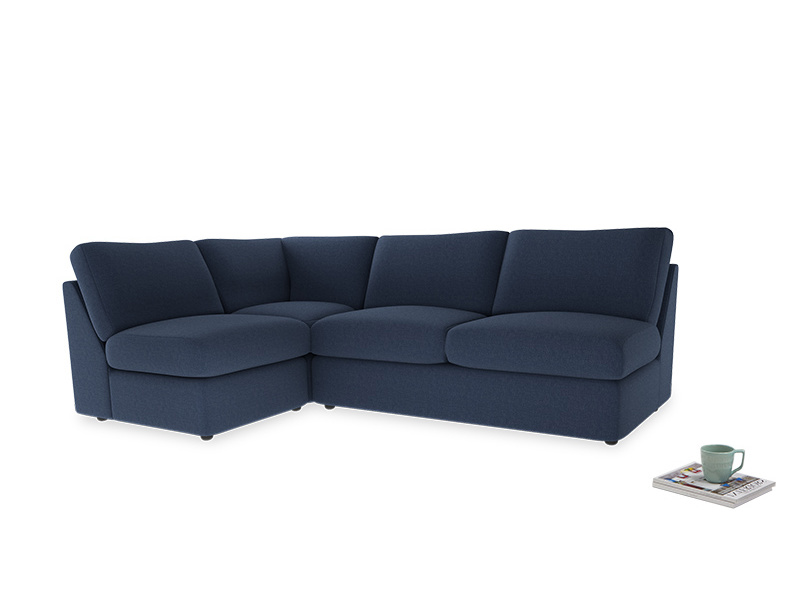 Large left hand Chatnap modular corner storage sofa in Navy blue brushed cotton