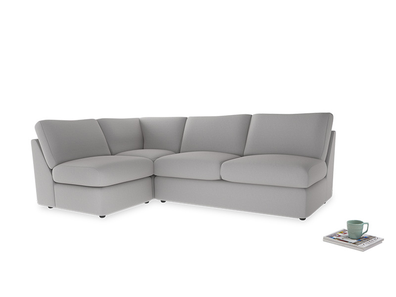 Large left hand Chatnap modular corner storage sofa in Flint brushed cotton