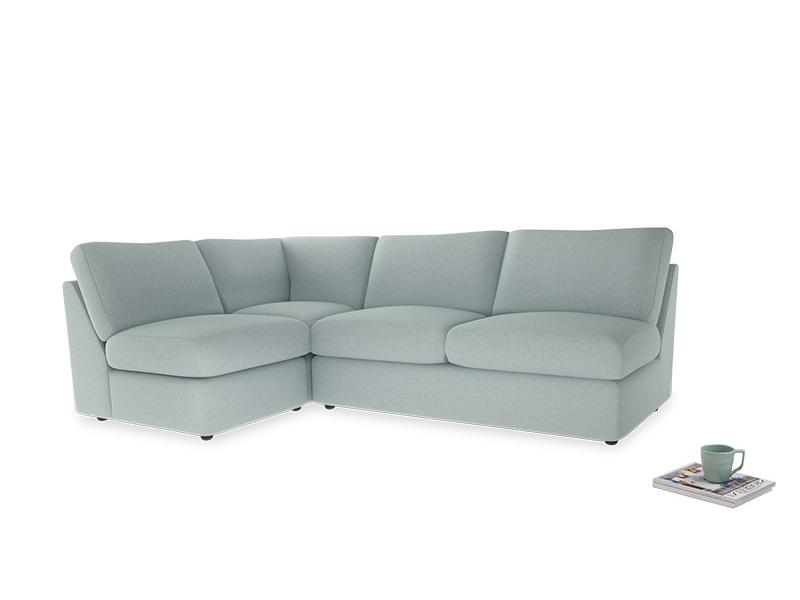 Large left hand Chatnap modular corner storage sofa in Duck Egg vintage linen