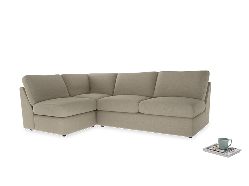 Large left hand Chatnap modular corner storage sofa in Jute vintage linen
