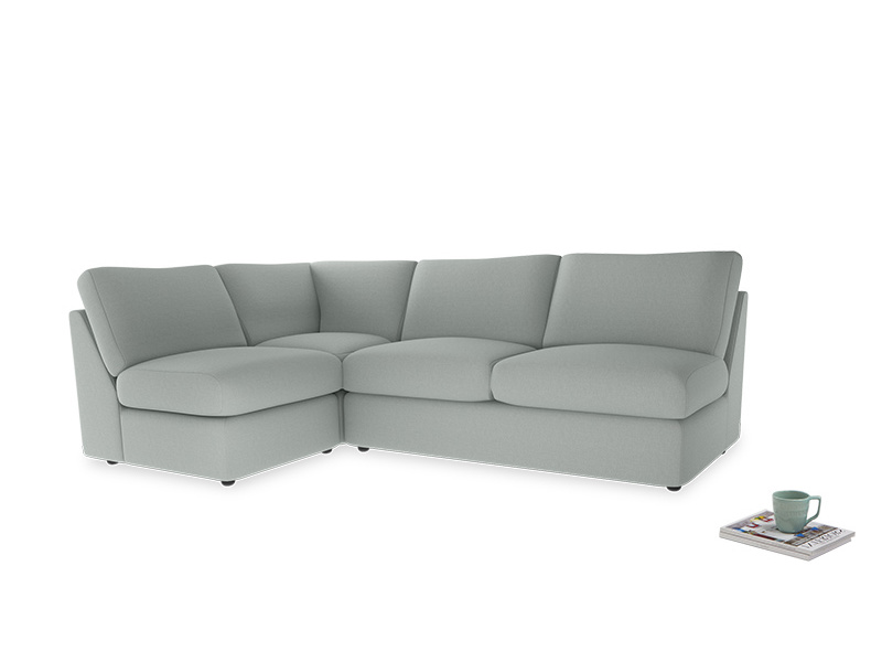 Large left hand Chatnap modular corner storage sofa in French blue brushed cotton