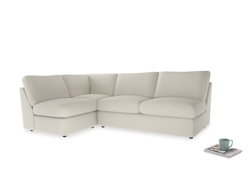 Large left hand Chatnap modular corner storage sofa in Oat brushed cotton