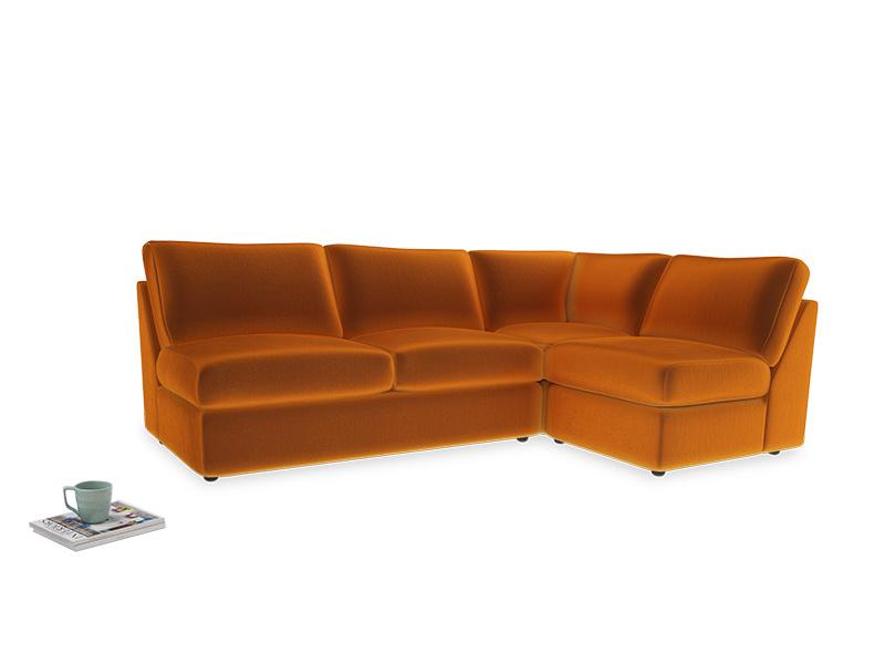 Large right hand Chatnap modular corner storage sofa in Spiced Orange clever velvet