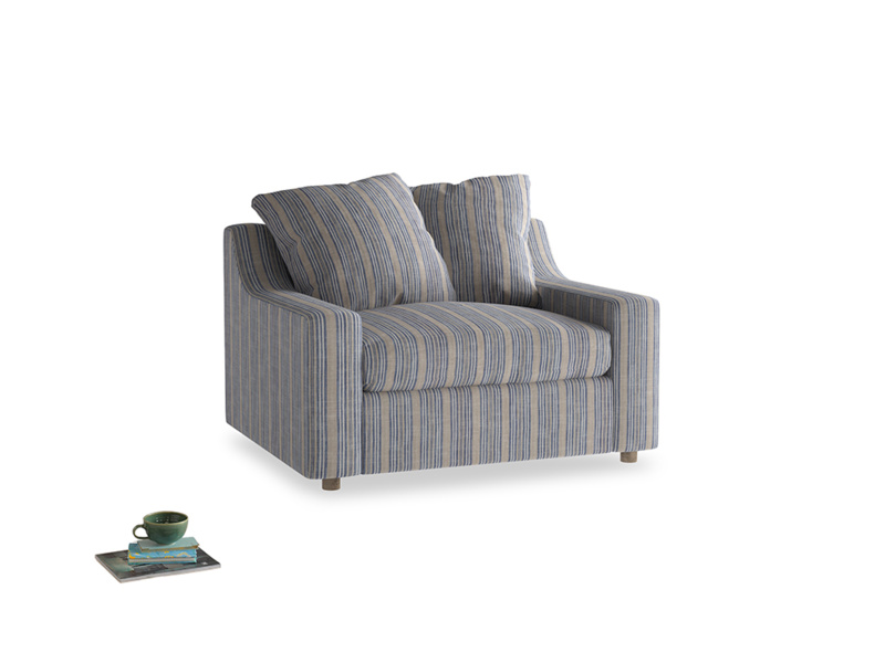 Cloud Love Seat Sofa Bed in Brittany Blue French Stripe