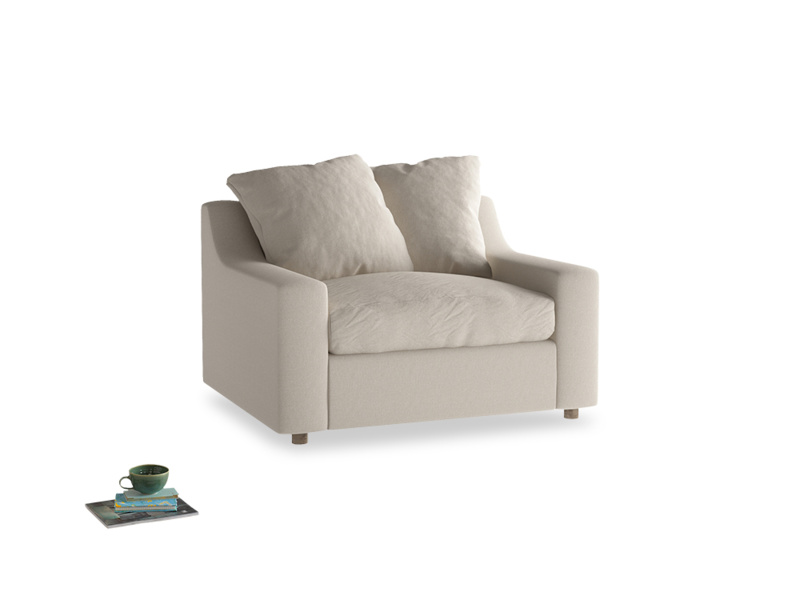 Cloud love seat sofa bed in Buff brushed cotton