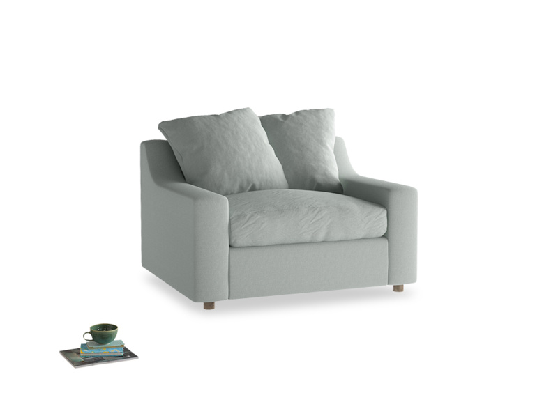 Cloud love seat sofa bed in French blue brushed cotton