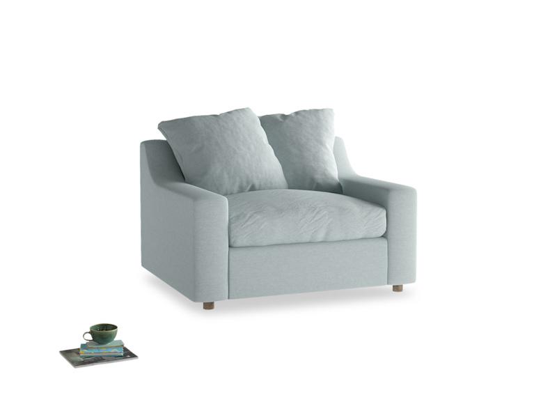 Cloud love seat sofa bed in Duck Egg vintage linen