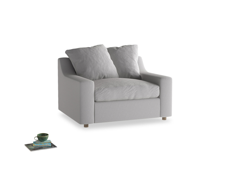 Cloud love seat sofa bed in Flint brushed cotton