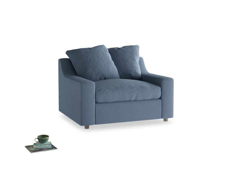 Cloud love seat sofa bed in Nordic blue brushed cotton