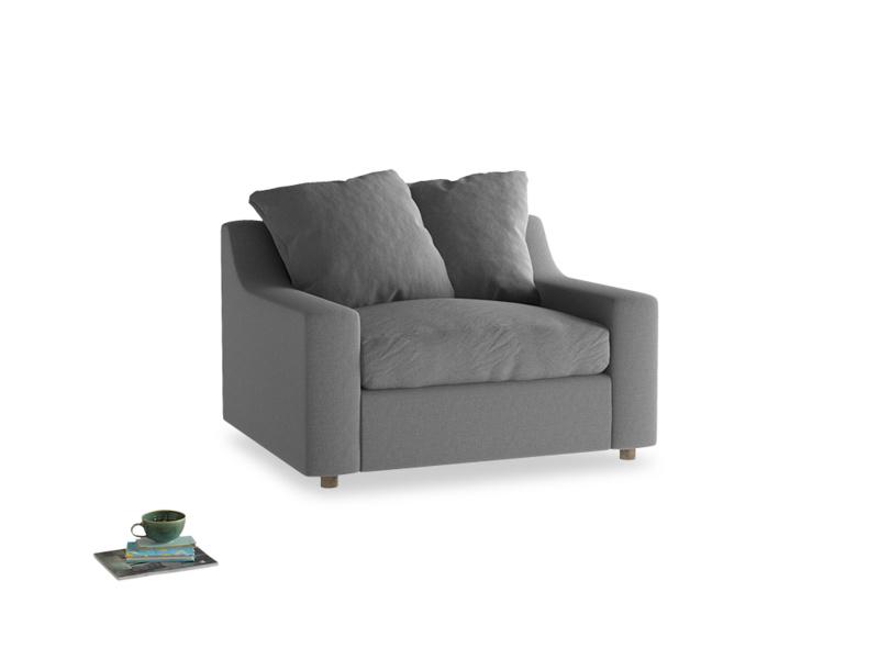 Cloud love seat sofa bed in Gun Metal brushed cotton
