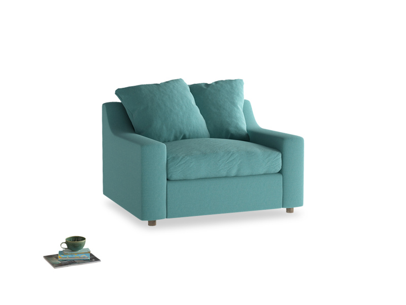 Cloud love seat sofa bed in Peacock brushed cotton