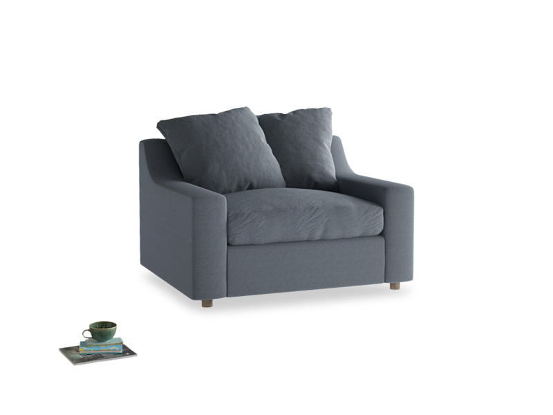 Cloud love seat sofa bed in Blue Storm washed cotton linen