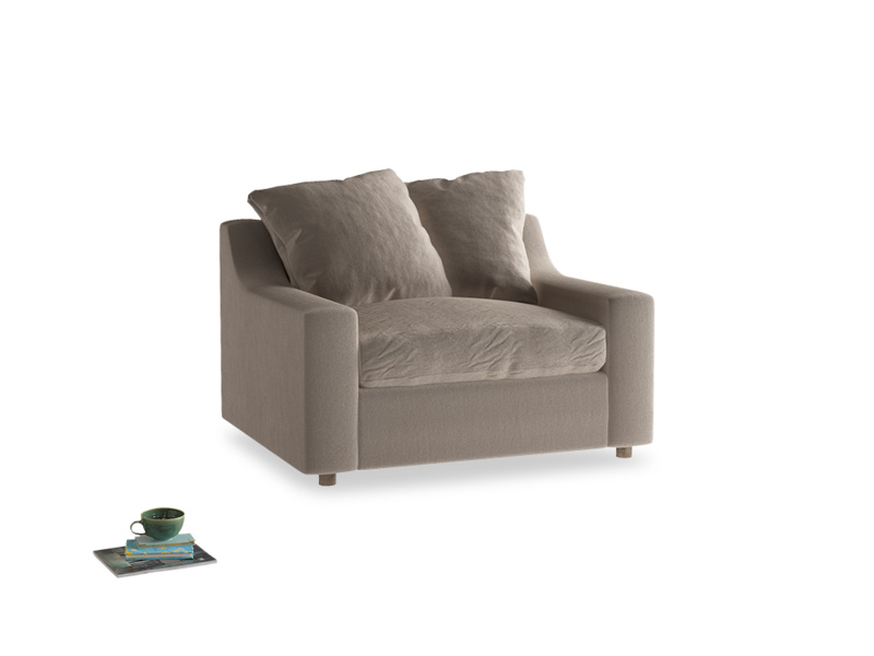 Cloud love seat sofa bed in Fawn clever velvet