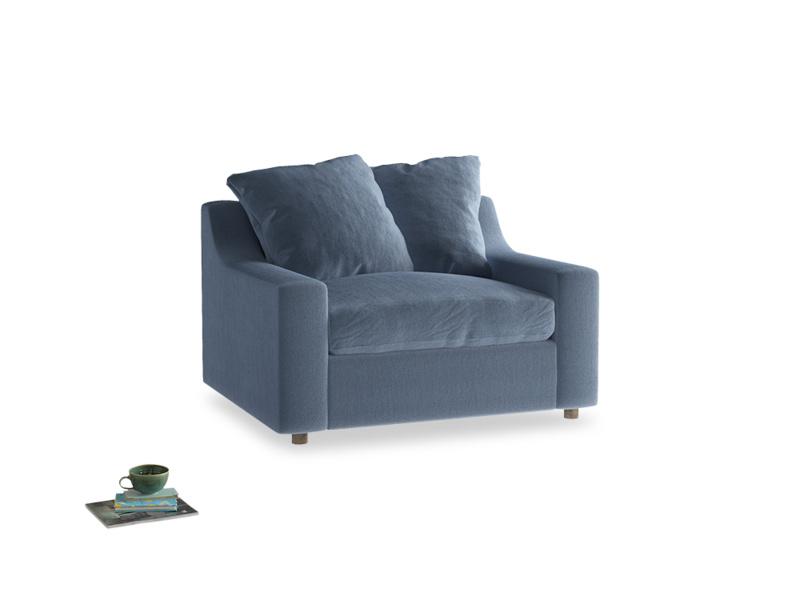 Cloud love seat sofa bed in Winter Sky clever velvet