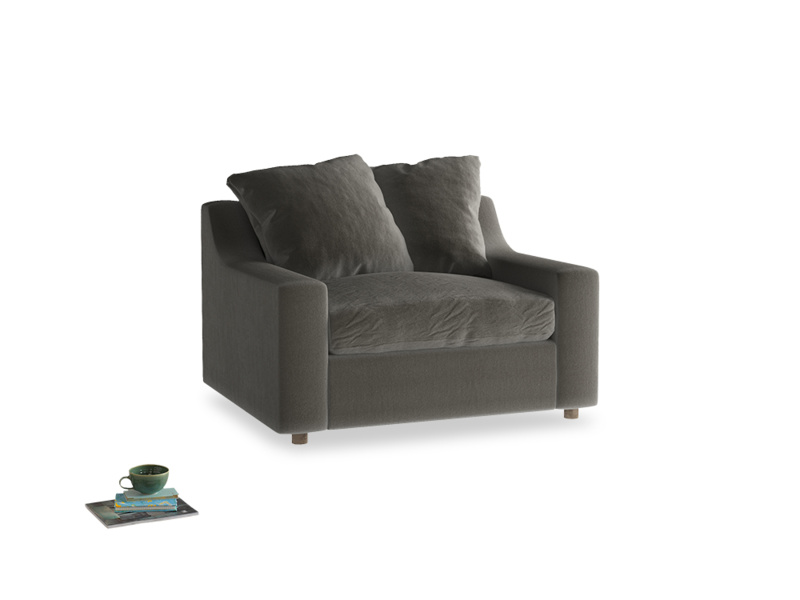 Cloud love seat sofa bed in Slate clever velvet