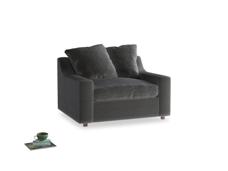 Cloud love seat sofa bed in Steel clever velvet