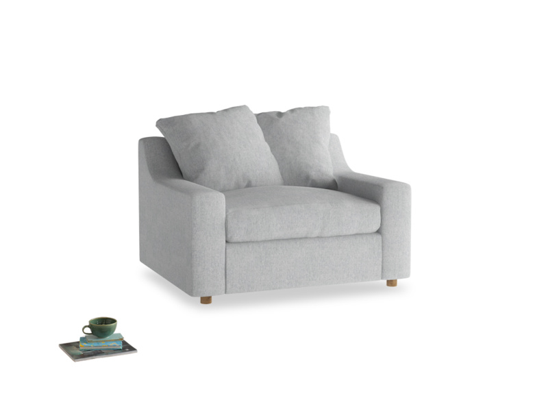 Cloud love seat sofa bed in Pebble vintage linen