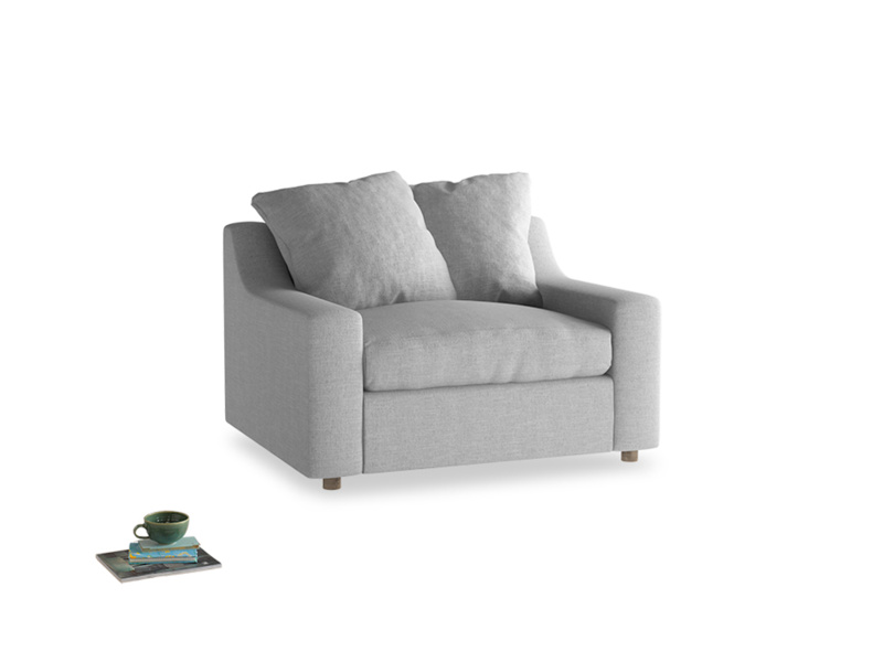 Cloud love seat sofa bed in Cobble house fabric