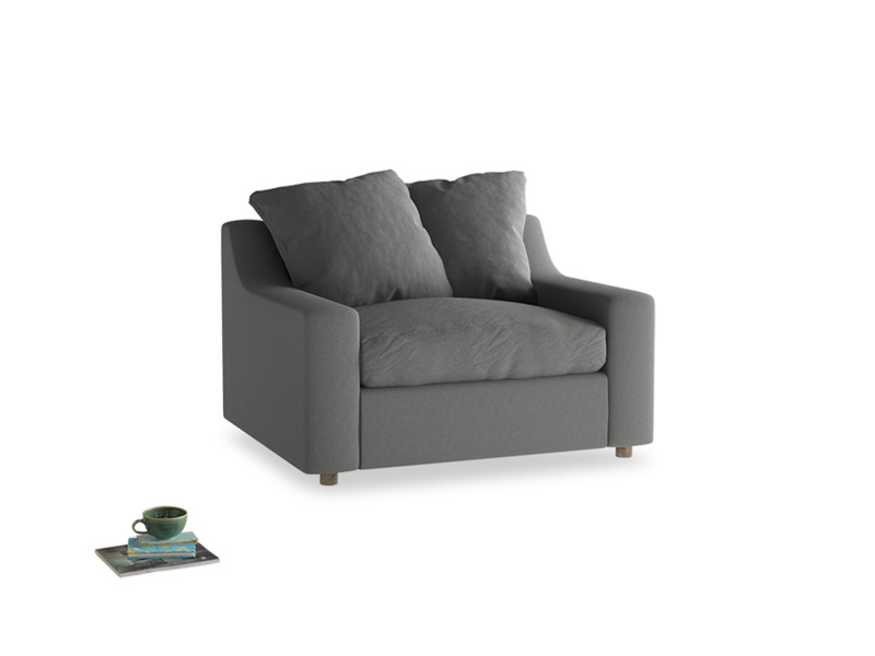 Cloud love seat sofa bed in French Grey brushed cotton