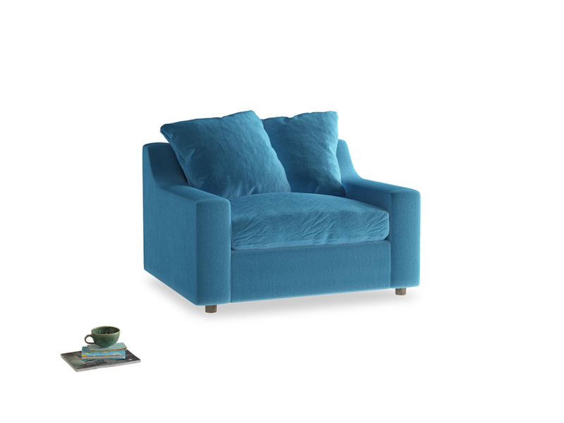 Cloud love seat sofa bed in Teal Blue plush velvet