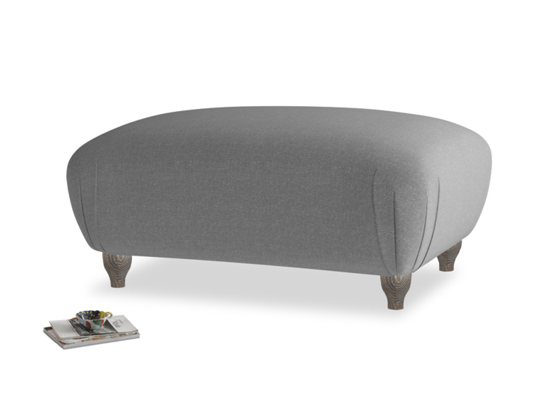 Rectangle Homebody Footstool in Ash washed cotton linen