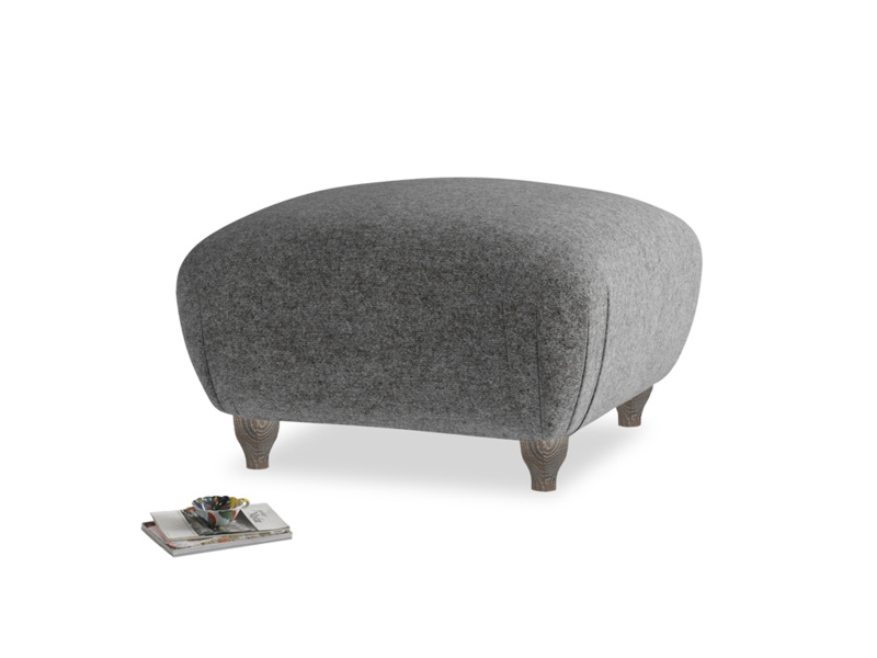 Small Square Homebody Footstool in Shadow Grey wool