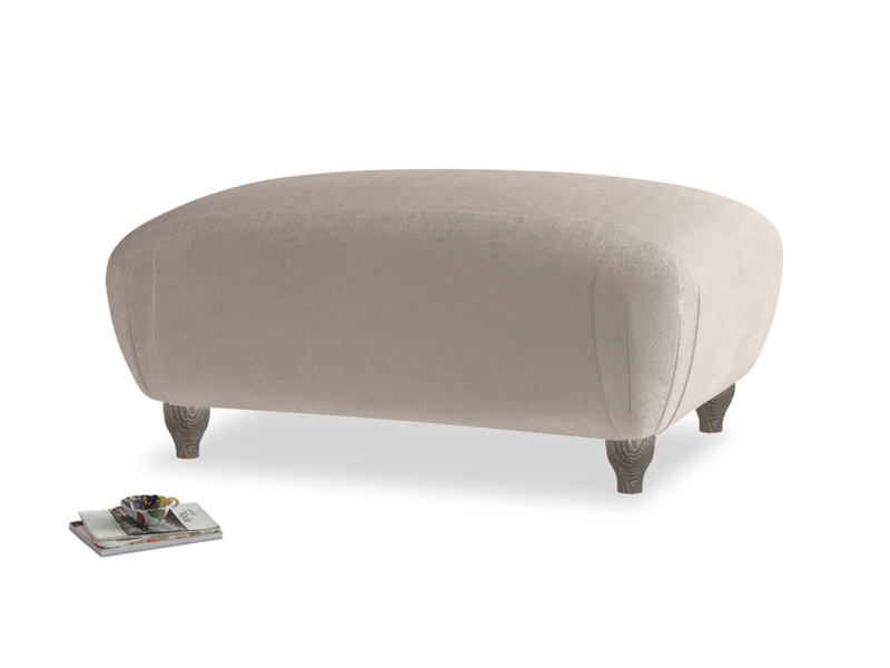 Rectangle Homebody Footstool in Fawn clever velvet