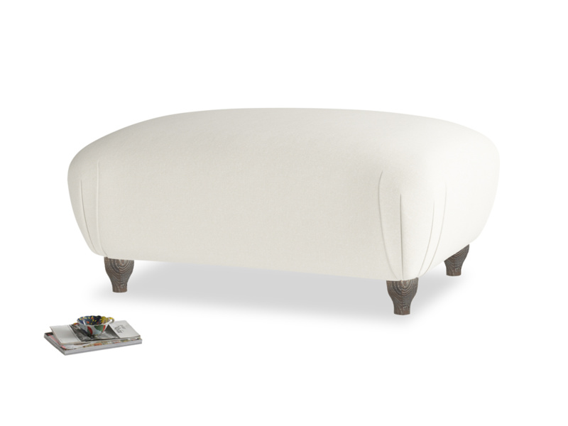 Rectangle Homebody Footstool in Oat brushed cotton