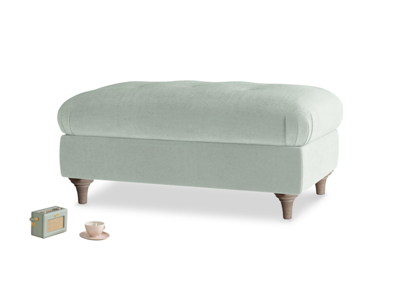 Rectangle Jammy Dodger Footstool in Mint clever velvet