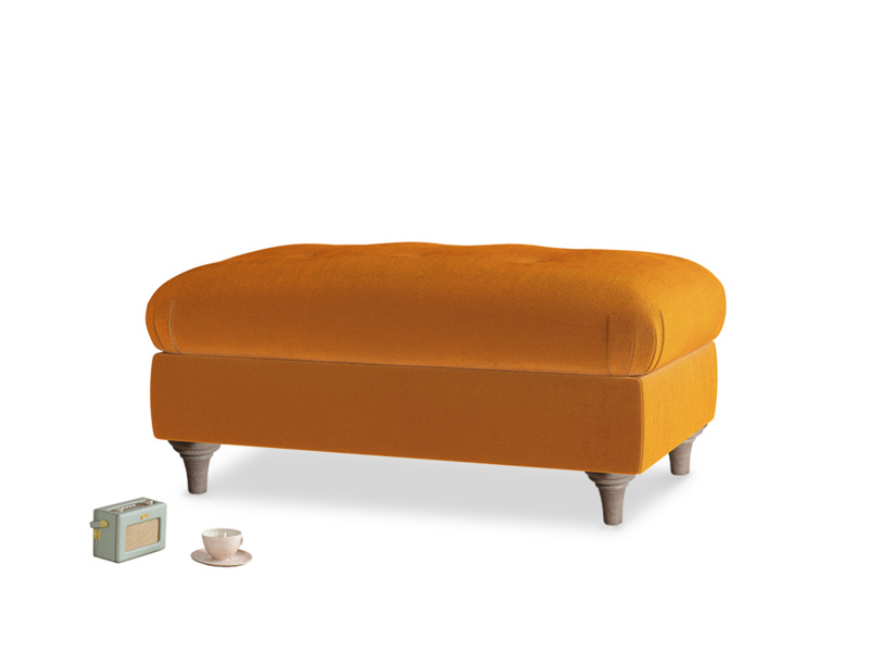Rectangle Jammy Dodger Footstool in Spiced Orange clever velvet