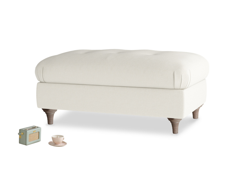 Rectangle Jammy Dodger Footstool in Oat brushed cotton