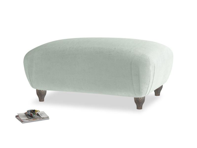 Rectangle Homebody Footstool in Mint clever velvet