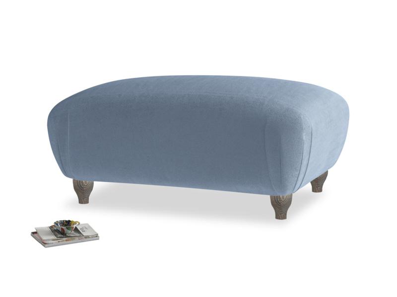 Rectangle Homebody Footstool in Winter Sky clever velvet