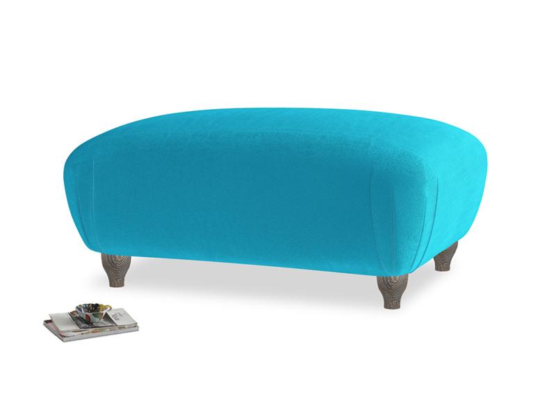 Rectangle Homebody Footstool in Azure plush velvet