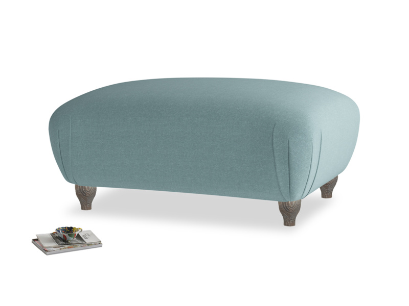 Rectangle Homebody Footstool in Marine washed cotton linen