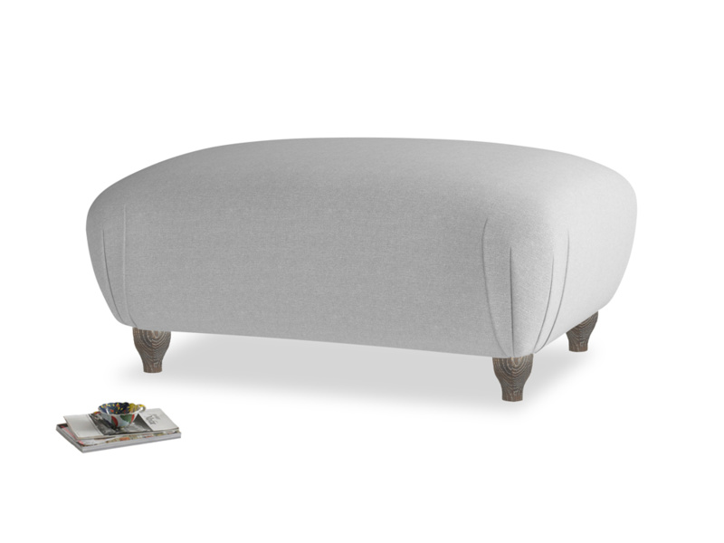 Rectangle Homebody Footstool in Magnesium washed cotton linen