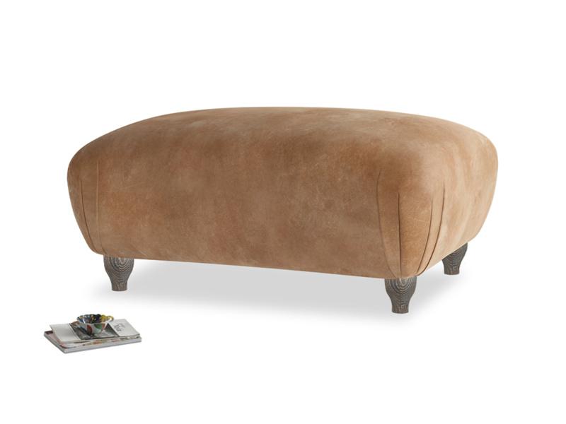 Rectangle Homebody Footstool in Walnut beaten leather