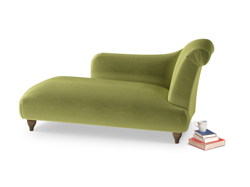 Right Hand Brontë Chaise Longue in Olive plush velvet