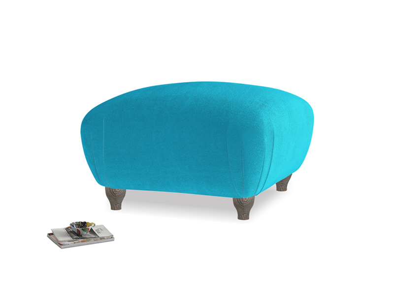 Small Square Homebody Footstool in Azure plush velvet