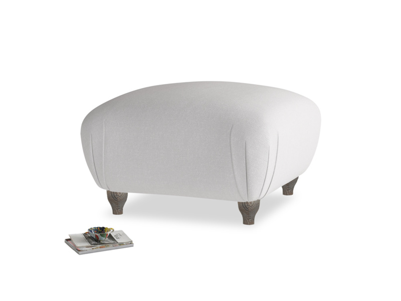 Small square footstool Homebody Footstool in Flint brushed cotton