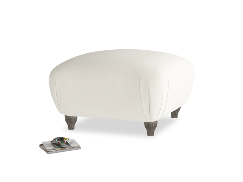 Small Square Homebody Footstool in Oat brushed cotton