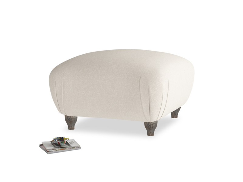 Small Square Homebody Footstool in Buff brushed cotton