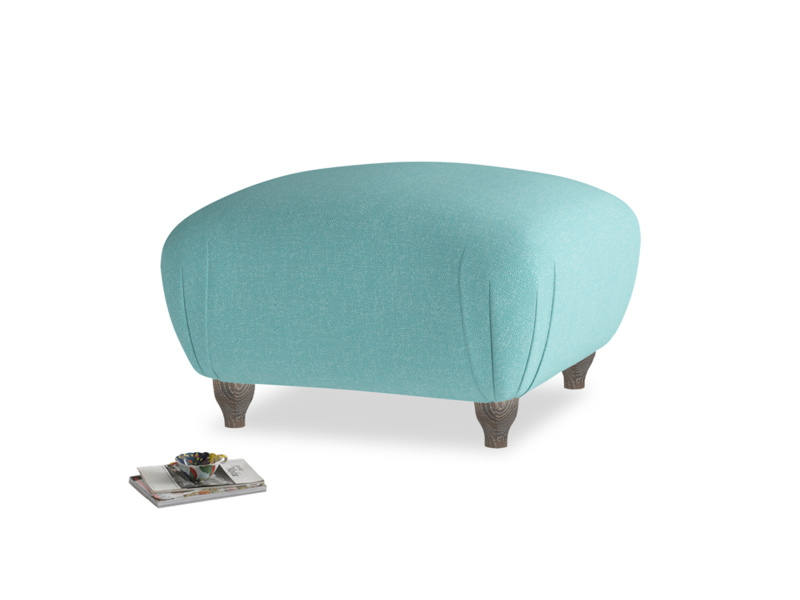 Small Square Homebody Footstool in Peacock brushed cotton