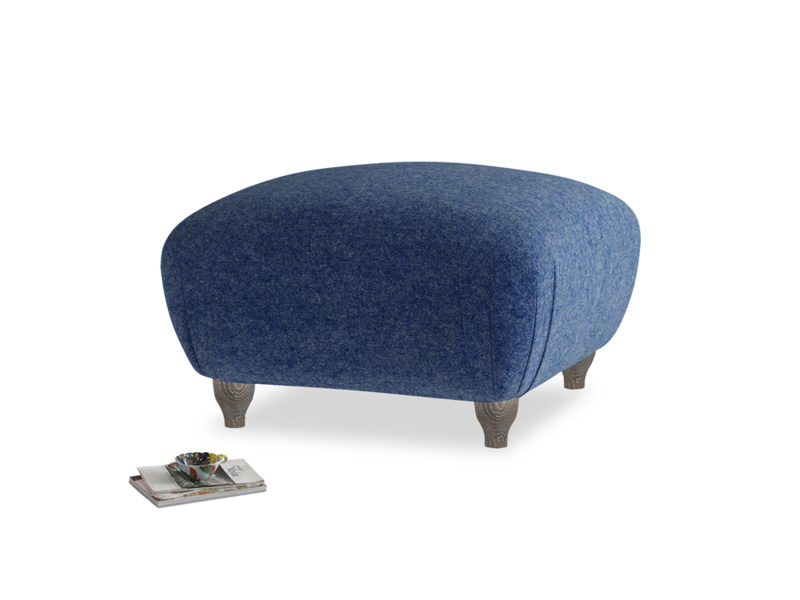 Small square footstool Homebody Footstool in Ink Blue wool